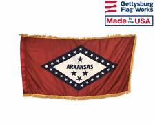 3x5' Arkansas Indoor Flag with Pole Hem & Gold Ornamental Fringe