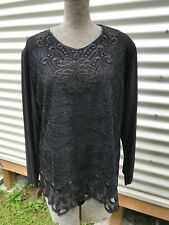 New Kate Harris Australia black long sleeve lace netting diamante size L 16