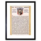 War American Civil Lincoln Gettysburg Address President Framed Wall Art Print