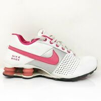 Nike Boys Shox Deliver 318145-162 White Red Running Shoes Lace Up Size 6 Y