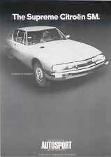 CITROEN SM réimpression article de Autosport 1971