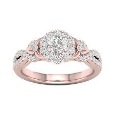 14k Rose Gold 5/8ct TDW Diamond Halo Engagement Ring