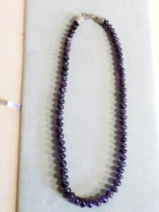 "Genuine Amethyst 24"" Necklace purple violet 10-12mm Bead Vintage Artisan 485 ct"