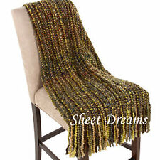 Kennebunk Home Stria Leaf Green Hand Woven Acrylic Boucle Throw Blanket New