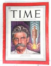Jul 11, 1949 TIME Magazine-Albert Schweitzer on Cover- News/Photos/Ads VG