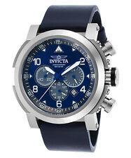 Invicta 23367 Men's 'I-Force' Quartz 47mm Chronograph SS Case Blue Leather Watch
