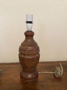 "Vintage Heavy 2.1kg Turned Wooden Table Lamp for Restoration 13.5"" Rustic"