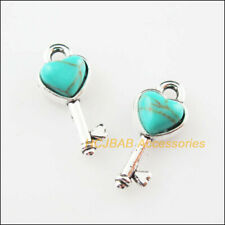 12 New Tiny Heart Key Charms Turquoise Tibetan Silver Pendants Retro 7x16mm