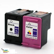 2PK Ink for HP 901XL CC654AN Black & HP 901 CC656AN OfficeJet G510a G510g J4524