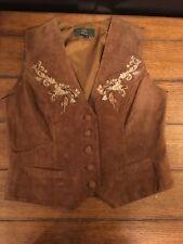 Vintage Orvis Medium Brown Embroidered Suede Leather Vest