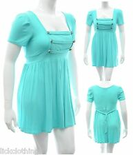 Womens 16 18 New Military Style Tunic Top Dress Turquoise Ladies LICK
