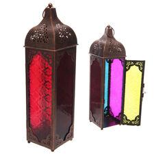 Orientalische Laterne Metall buntes Glas Bronze Effekt Windlicht stehend hängend