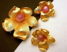 Pink Moonglow Goldtone Vintage Stunning Brooch Pin and Earrings