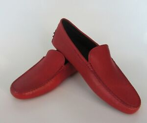 TOD'S Men's Gommini Pebbled Leather Loafer Drivers Shoes RED size 9 Italy NEW