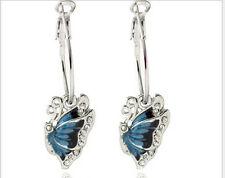 Butterfly Elegant Dangle Hoop Blue Crystal Rhinestone Enamel Fashion Earrings