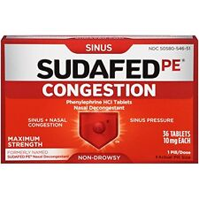 Sudafed PE Sinus Congestion Non-Drowsy Max Strength 36 Tablets