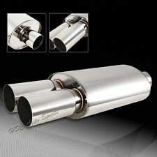 "3"" Dual Flat Tip Stainless Steel Weld-On Exhaust Muffler 2.5"" Inlet Universal 4"