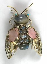 C & D gilt brass w/antique bug pin brooch Labradorite,Turquoise,Citrine,Quartz