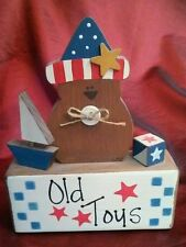 Rustic Country Wood shelf sign OLD TOYS Teddy Boat Home Decor