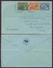 TRINIDAD + TOBAGO 1933 MUNSON STEAMSHIP LINES ENV.3 COLOUR FRANKED KG5 BRITANNIA