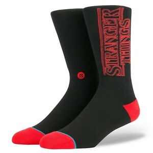 Stance Stranger Things Socks Size Large 9-12 Black with Red Logo NEW