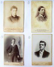 4 x Large 1800s  Victorian Cabinet Card Photographs Cabinet Portrait etc.