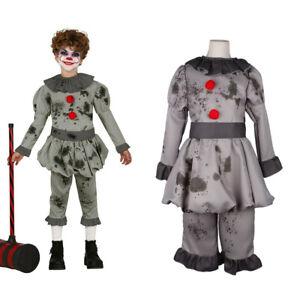 Kids cosplay Halloween Costume Boys IT Pennywise Fancy Dress Crazy Clown