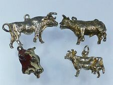 VINTAGE 925 Sterling Silver Charm JOB LOTTO Mucche & Bulls 18g a574