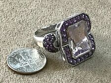 Sima K Sterling  925  7.04 CT Rose de France and Purple Amethyst Ring Size 9
