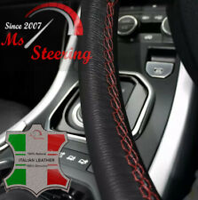 FOR FORD FOCUS 00-07 BLACK LEATHER STEERING WHEEL COVER, DARK RED STIT