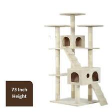 "Cat Tree Cat Scratcher For Large Cats, 73"" H, Beige"