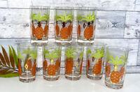 Vintage Mid Century Pineapple Glasses, Set of 8, MCM, 1960's, Gold Trim, Boho