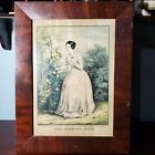 """1849 Framed Nathaniel Currier Victorian Print The Morning Rose 17 3/8"""" x 13 1/4"""""""