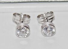 9ct White Gold 0.50ct Solitaire Bezel Set Ladies Stud Earrings -