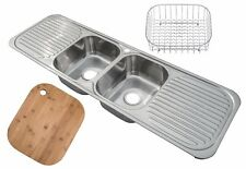 Double Bowl 2.0 Stainless Steel Inset Kitchen Sink 2 Drainers & Accessories F01