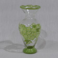 Vintage Flower Vase ~ Painted Flowers In green Ruffled Top ~ 6½� Tall