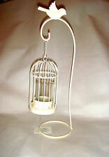 Cream Ivory Metal Bird Cage & Stand Shabby Chic Tea Light Candle Holder Gift