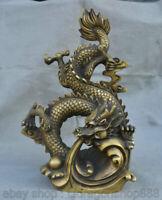 "14.2 ""Vieux Chinois Folk Feng Shui Année du Zodiac Animal Dragon Perle Statue"