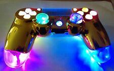 PS4 Dualshock 4 Custom Controller-Gold & Clear - Multi Color LED Illumination