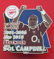 Danbury Mint Pin Badge Arsenal Football FC Club Sol Campbell Famous Footballer