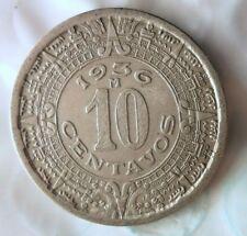 1936 MEXICO 10 CENTAVOS - Mayan Calendar - Great Coin - FREE SHIP - Mex Bin #3