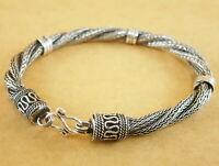 "Handmade Oxidized 925 Sterling Silver Bali Foxtail Wheat Bracelet 7"" 20g 5.2mm"