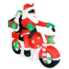 Christmas Decoration Big Santa & Penguin Motorcycle Led Lighted Self Aufblasend