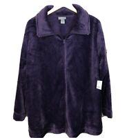 Catherines womens 2X zip front fleece jacket purple new 22/24W cozy plush B2K1