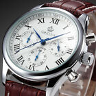 ORKINA Luxury Men's Silver White Stopwatch Leather Japan Quartz Sport Watch New