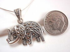 Marcasite Elephant Necklace 925 Sterling Silver Corona Sun Jewelry 5 Grams Heavy