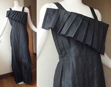 ELEGANT! ISSEY MIYAKE PLEATS DRAPED ROBE MAXI ONE PIECE DRESS L 40% SILK BLACK