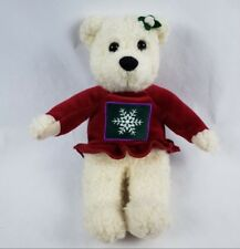 "Hallmark Cards Holiday Teddy Bear 10"" Plush Red Snowflake Sweater Stuffed Animal"