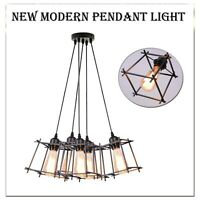 Vintage Wire Frame Pendant Light Metal Cage Industrial Loft Ceiling Lamp Shade
