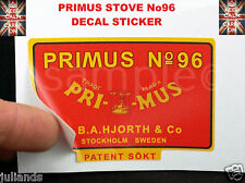 PRIMUS STOVE No 96 REPLACEMENT DECAL STICKER PARAFFIN STOVE KEROSENE STOVE